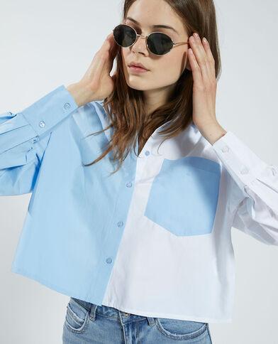Tweekleurig cropped hemd wit - Pimkie