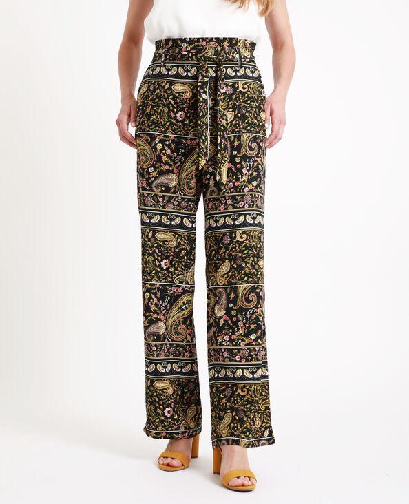 Bedrukte broek met brede pijpen zwart