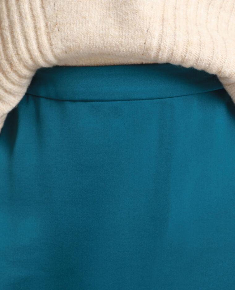 Rok van satijnachtige stof eendenblauw
