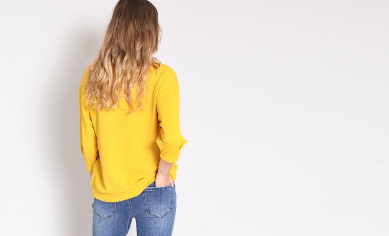 Sweat à manches bouffantes jaune