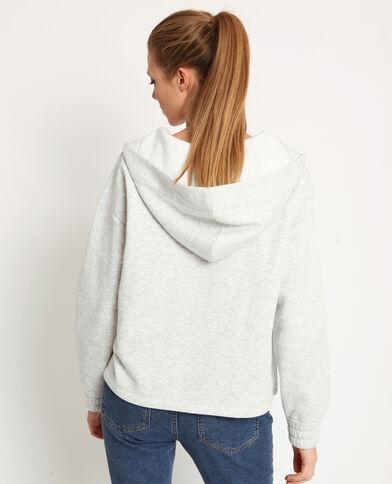 Sweater met rits gemêleerd grijs