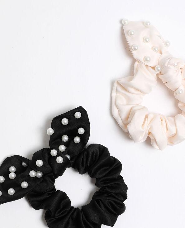 Scrunchies met parels zwart