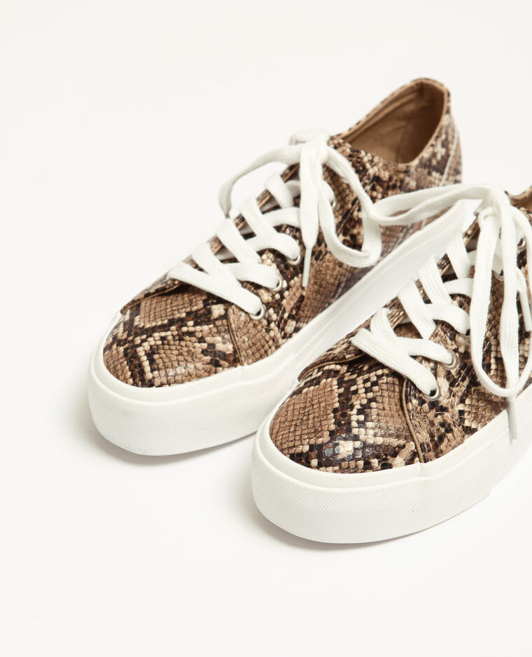 Baskets faux python beige ficelle