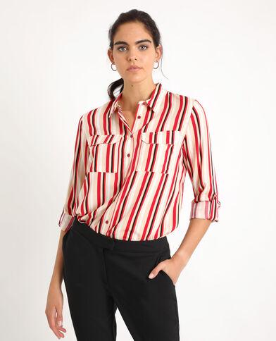 Hemd met streepjes wit + rot