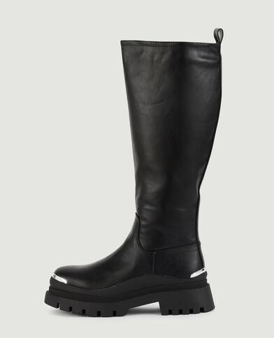Hoge laarzen met profielzolen zwart - Pimkie