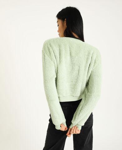 Korte sweater van pluchestof groen