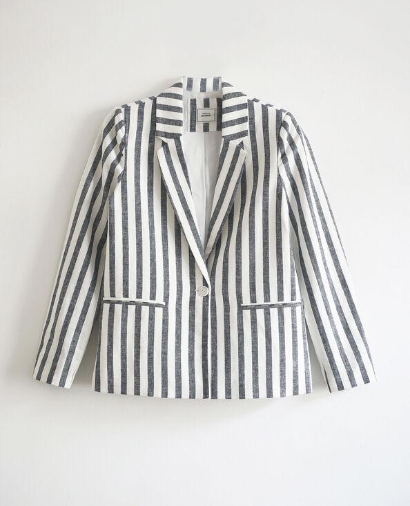 Gestreepte blazer wit + blauw