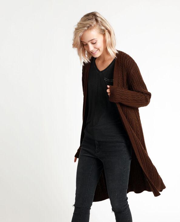 Vest met kabelmotief chocoladebruin