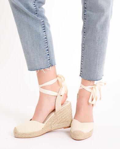 Sandalen met sleehak van stro beige