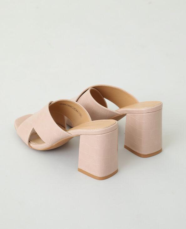 Mules à talons effet croco rose nude