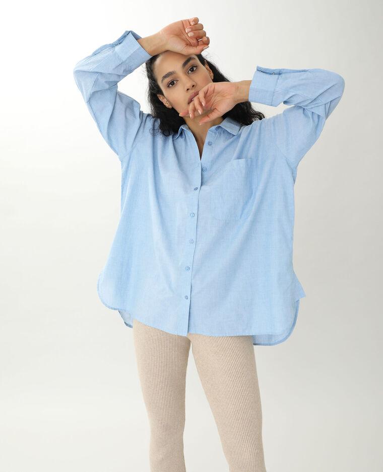 Chemise longue bleu ciel