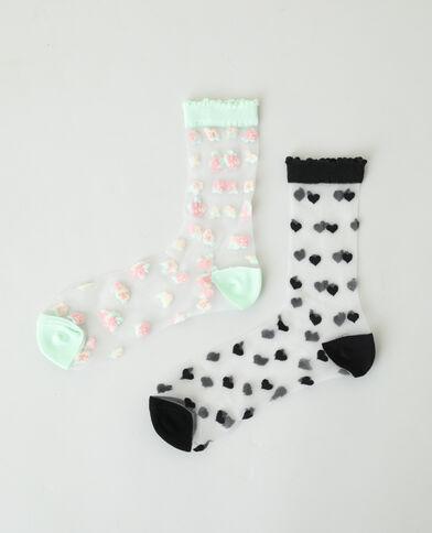 Set van 2 paar doorzichtige sokken zwart - Pimkie