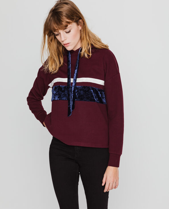 Sweater met kap bordeauxrood