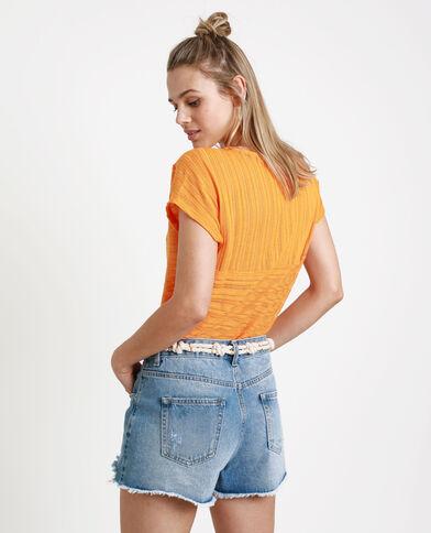 T-shirt ajouré orange fluo