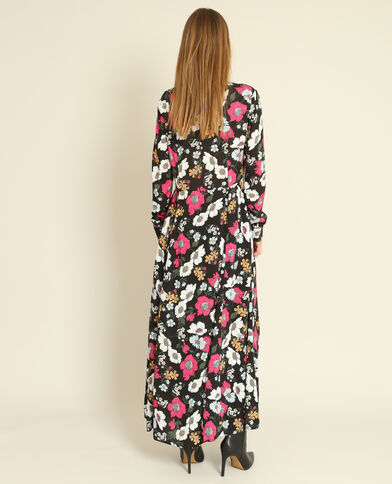 Robe chemise fleurie noir