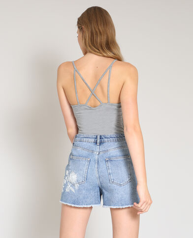 Body met dunne schouderbandjes gemêleerd grijs