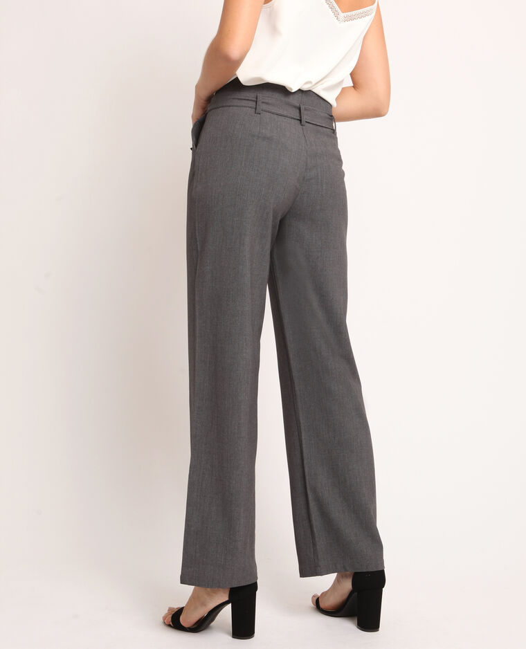 Pantalon large gris chiné