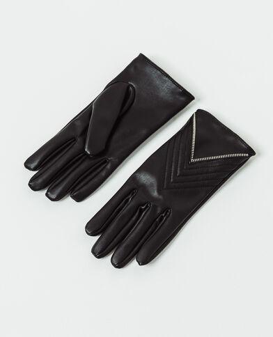 Handschoenen van imitatieleer zwart