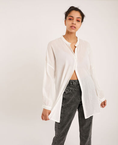 Chemise col mao blanc cassé