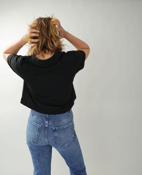 T-shirt met parels en glittersteentjes zwart - Pimkie