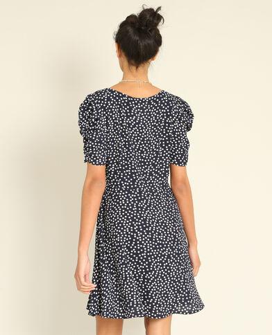 Soepelvallende jurk met print marineblauw
