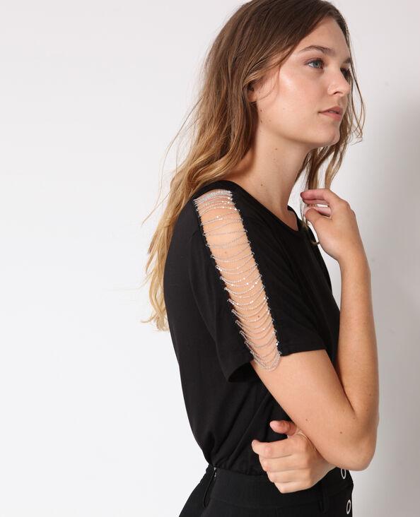 T-shirt met kettingen zwart