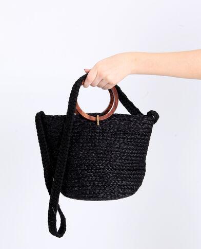 Bucket bag van stro zwart
