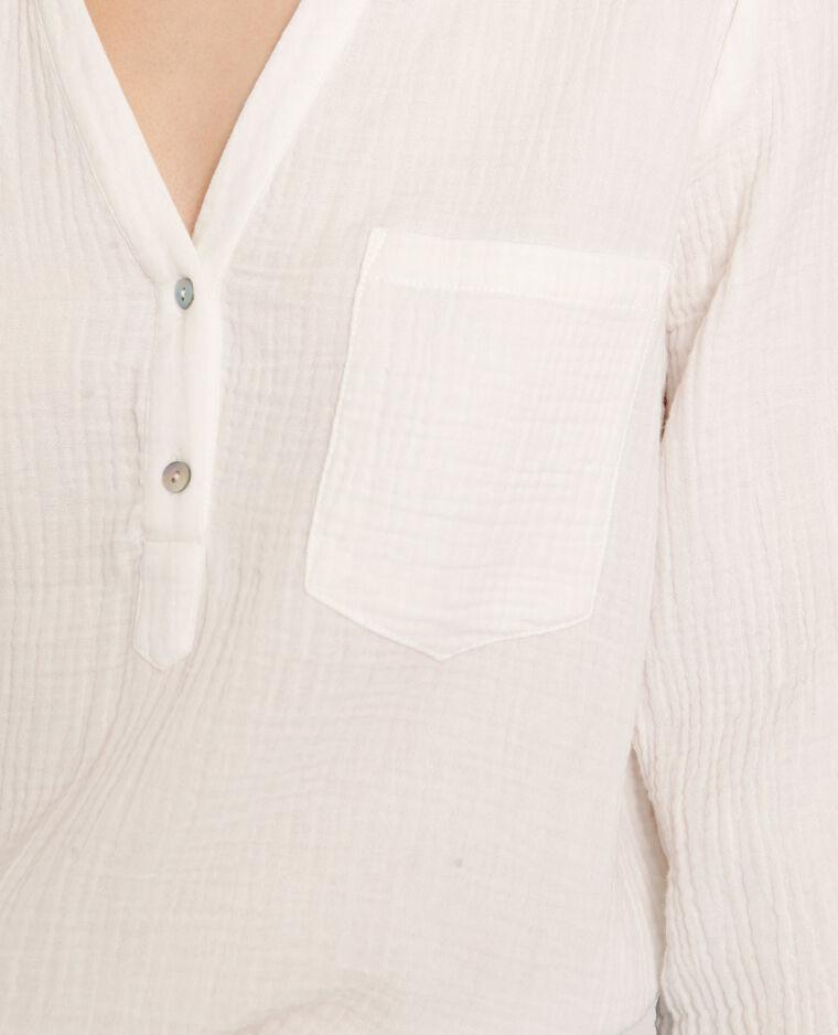 Hemd met driekwartmouwen gebroken wit