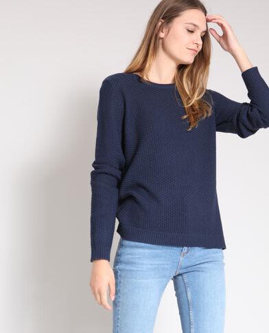 Trui in origineel tricot marineblauw