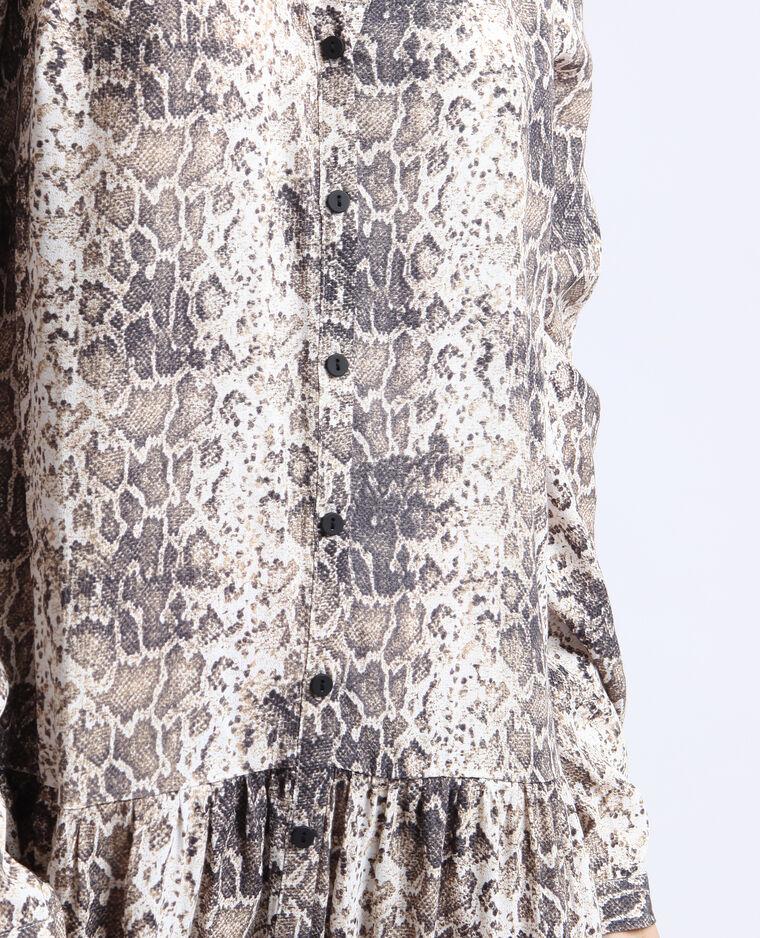 Robe chemise python écru