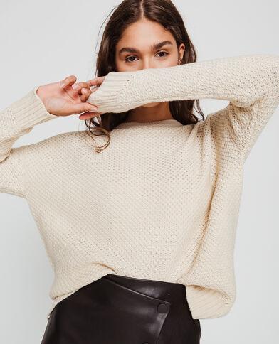 Trui in origineel tricot geweven beige