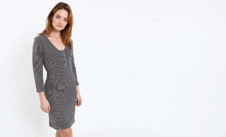 Halflange jurk met strepen zwart