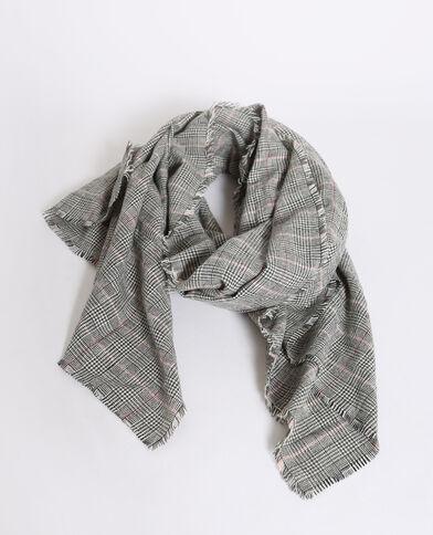 Sjaal met Prince-de-Galles-print zwart