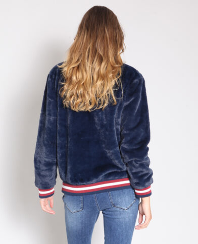 Sweater van nepbont marineblauw