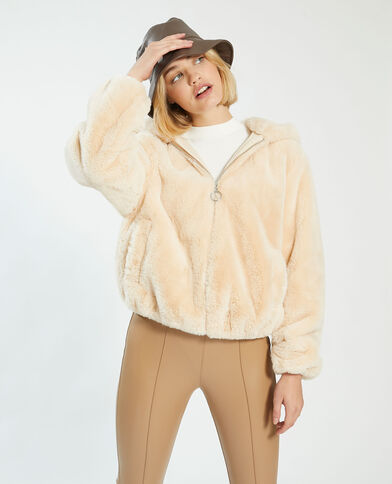 Manteau court à capuche fluffy beige - Pimkie