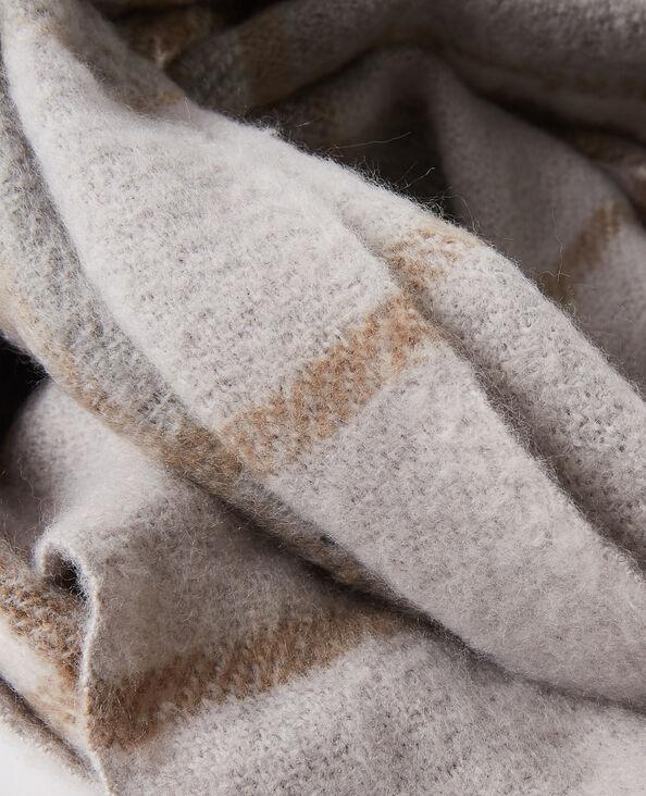 Geruite sjaal met franjes grijs - Pimkie