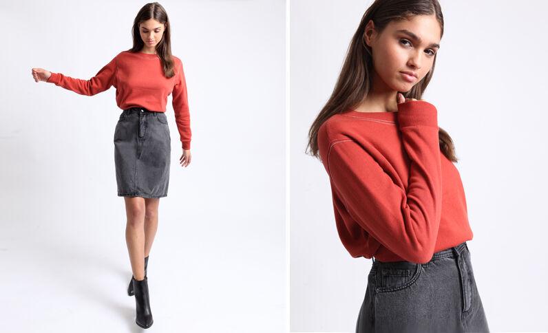Sweater met stiksels roestkleur