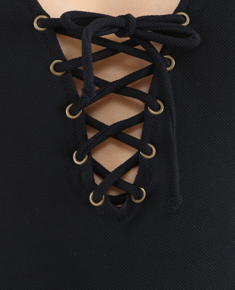 Badpak uit 1 stuk met koord zwart