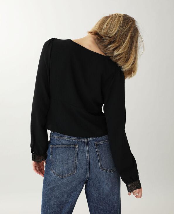 Korte kanten blouse zwart