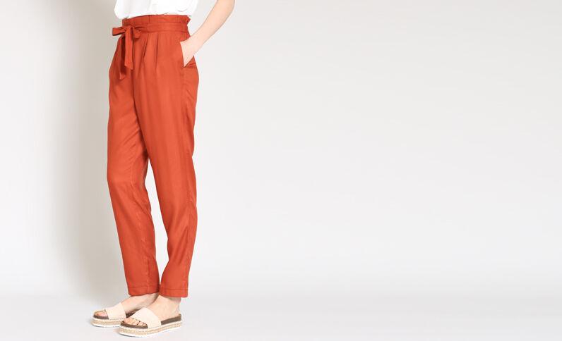Pantalon fluide brique