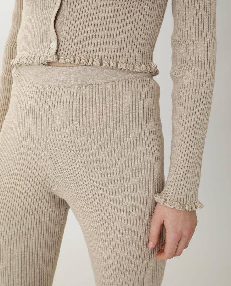 Pantalon bootcut en maille beige taupe