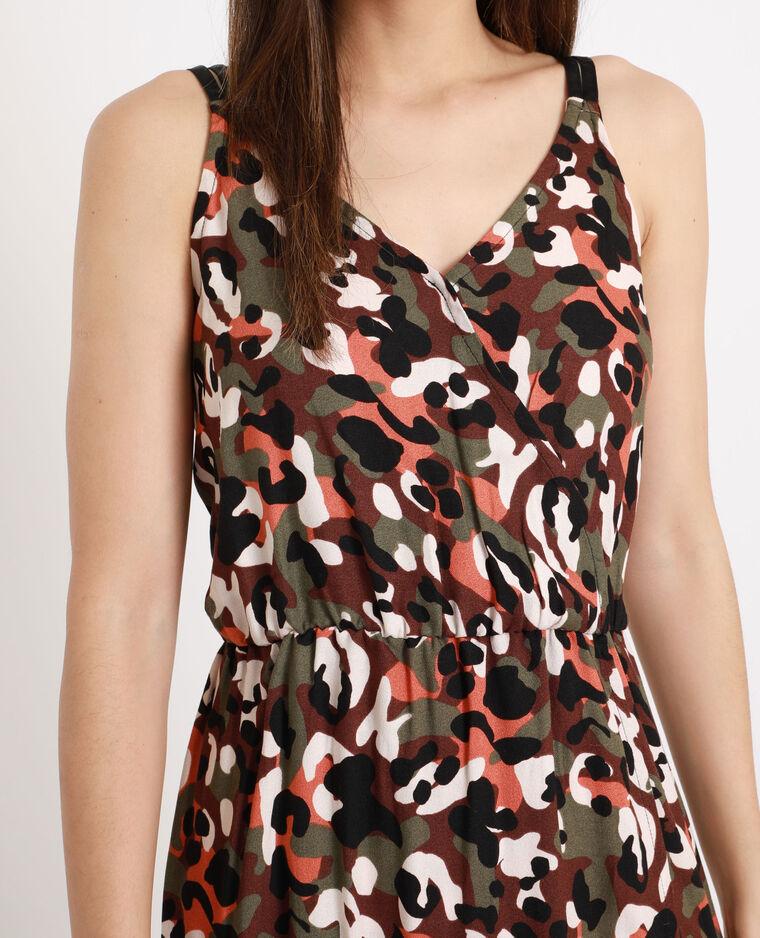 Robe longue camouflage marron