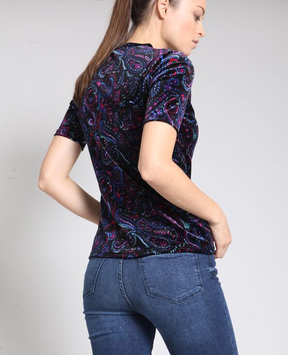 T-shirt met kasjmierprint blauw