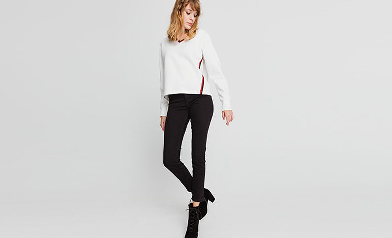 Sweater met V-hals gebroken wit