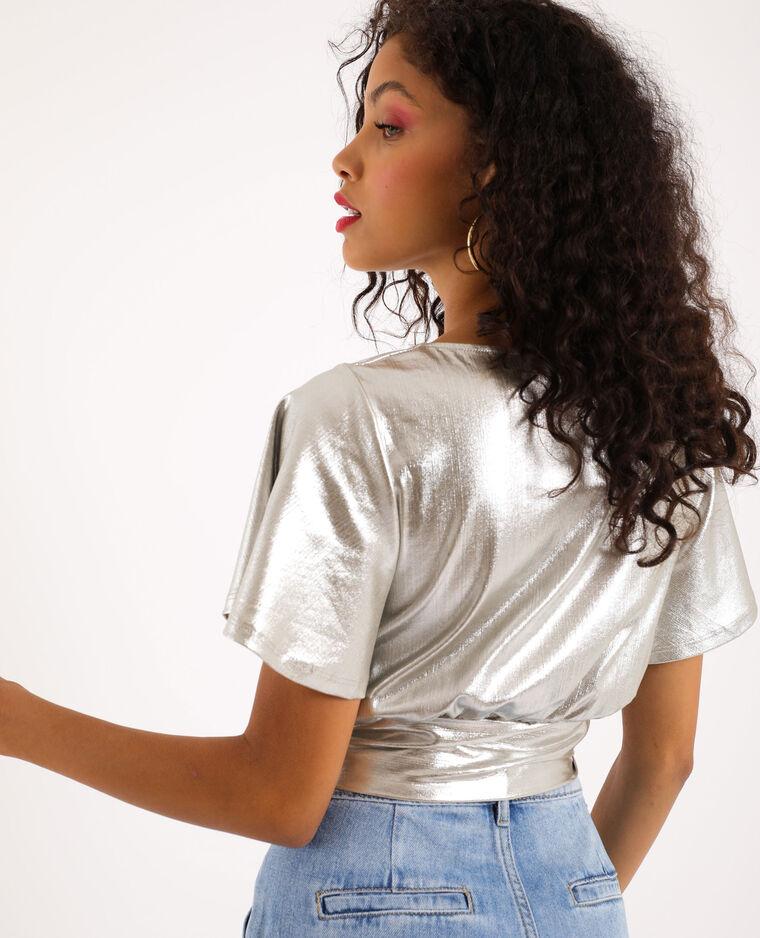 Shirt van zilverlamé goudkleurig