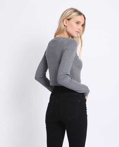 Gilet court gris chiné