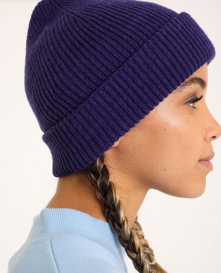 Bonnet avec revers violet - Pimkie