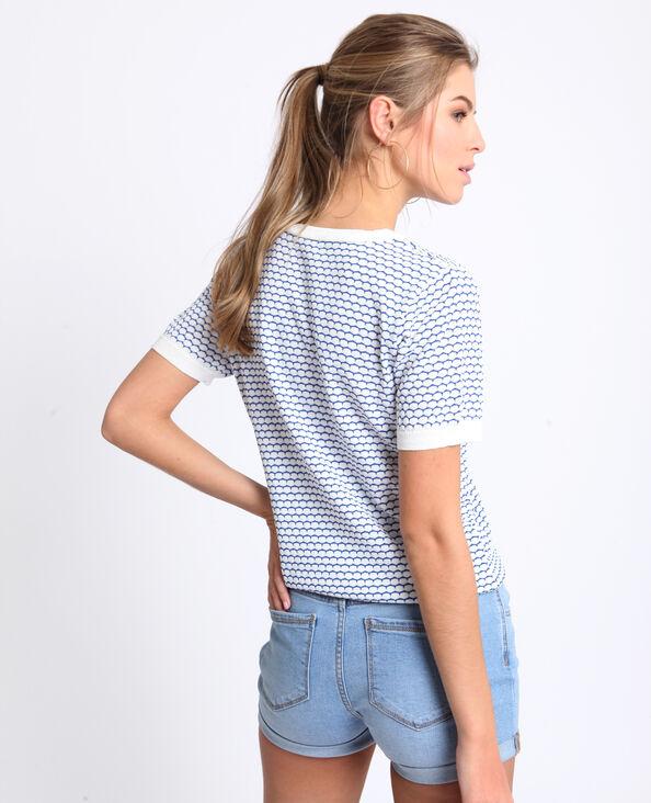 Shirt met honingraatpatroon blauw