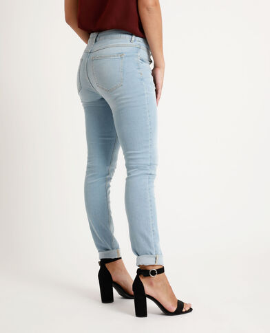 Jean skinny mid waist bleu délavé