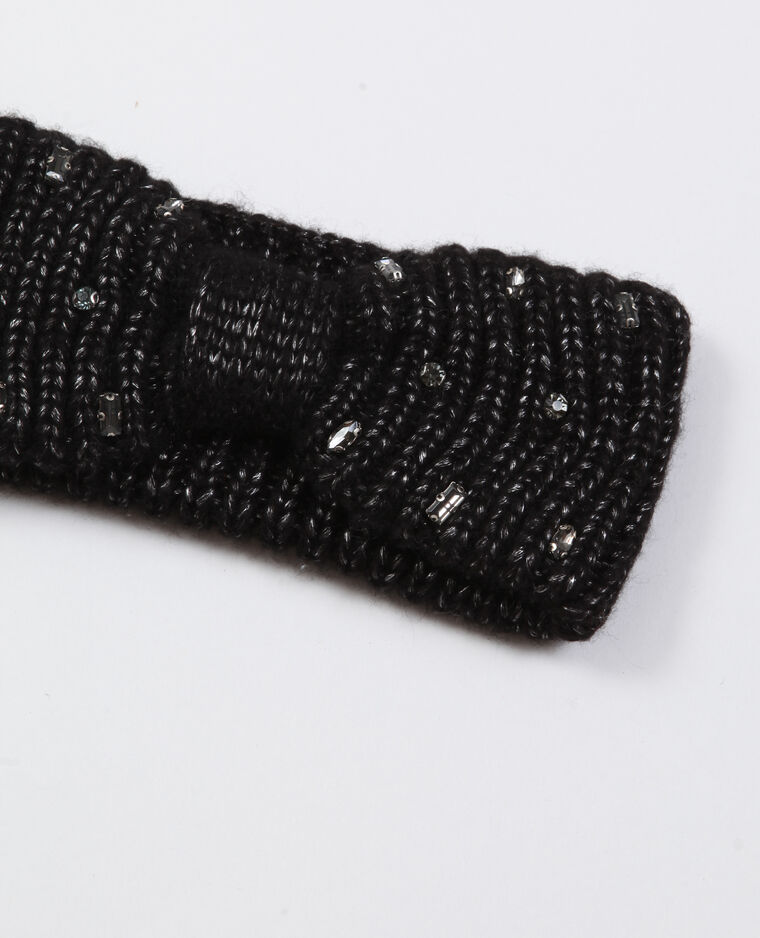 Haarband met glittersteentjes zwart